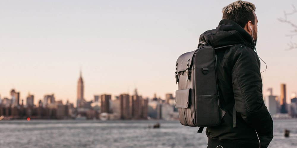 Marketing Professional with his Laptop Backpack in NYC